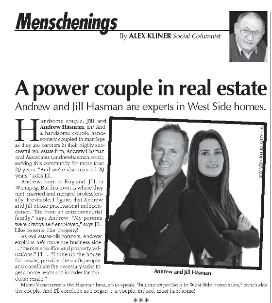 Jewish Independent newspaper clipping feat. Andrew and Jill Hasman